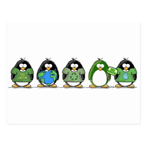 Love the earth penguins postcard