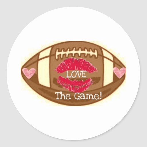 LOVE THE GAME! FOOTBALL GRAPHIC PRINT ROUND STICKER