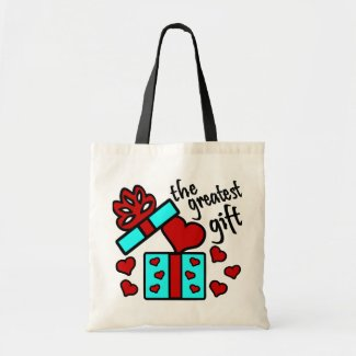 Love, The Greatest Gift With Gift Box And Hearts bag