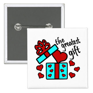 Love, The Greatest Gift With Gift Box And Hearts Buttons