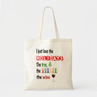Love The Holidays, Tree, Lights and Wine Tote Bag
