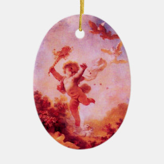 LOVE THE JESTER MONOGRAM Red Ruby Heart Christmas Tree Ornament