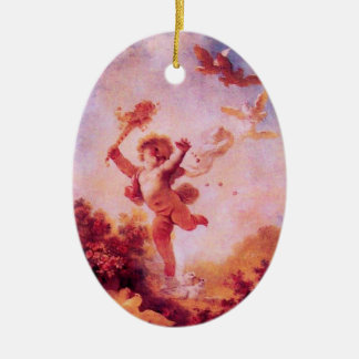 LOVE THE JESTER MONOGRAM Red Ruby Heart Christmas Ornament