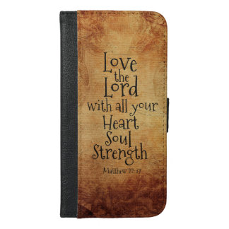 """Love the Lord"" Scripture Matthew 22, Vintage iPhone 6/6s Plus Wallet Case"