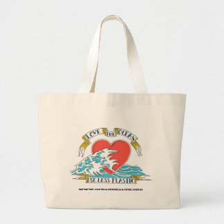 Love the Ocean & Use Less Plastic, www.oceanhea... Large Tote Bag