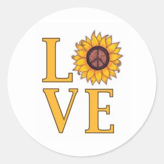 Love the Peaceful Sunflower Classic Round Sticker