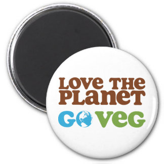 Love the Planet Go Veg 2 Inch Round Magnet