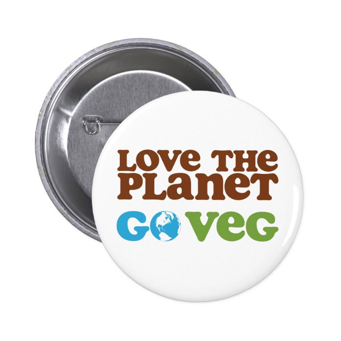Love the Planet Go Veg Button
