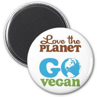 Love the Planet Go Vegan 2 Inch Round Magnet