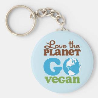 Love the Planet Go Vegan Basic Round Button Keychain