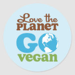 Love the Planet Go Vegan Classic Round Sticker