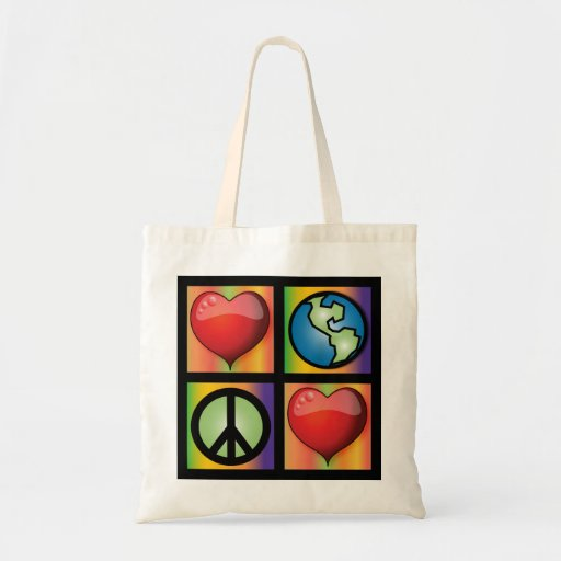 Love The Planet, Love Peace Canvas Bag