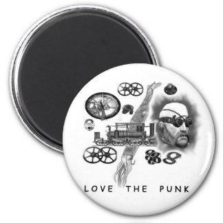 love the punk - steampunk button magnet
