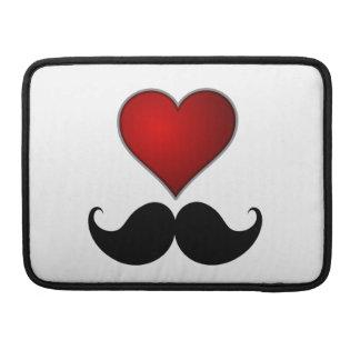 LOVE THE STACHE Heart w/Mustache Moustache MacBook Pro Sleeve