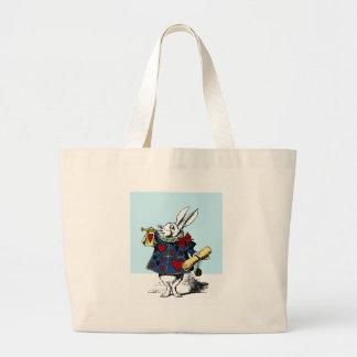 Love the White Rabbit Alice in Wonderland Large Tote Bag
