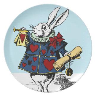 Love the White Rabbit Alice in Wonderland Melamine Plate