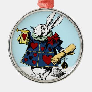 Love the White Rabbit Alice in Wonderland Round Metal Christmas Ornament