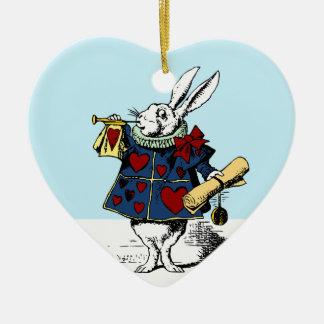 Love the White Rabbit Alice in Wonderland Double-Sided Heart Ceramic Christmas Ornament