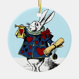 Love the White Rabbit Alice in Wonderland Double-Sided Ceramic Round Christmas Ornament