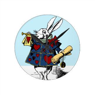 Love the White Rabbit Alice in Wonderland Round Clock