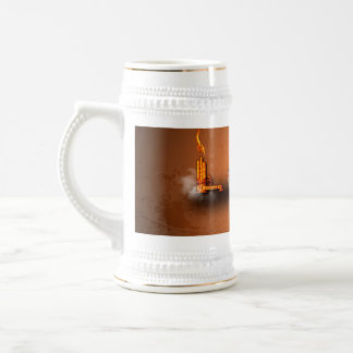 Love, the word in a machine style 18 oz beer stein