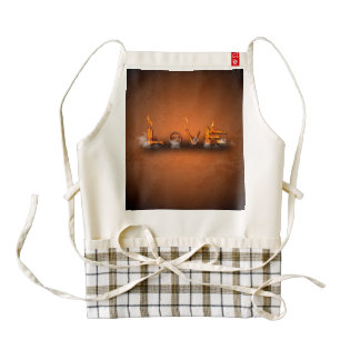 Love, the word in a machine style zazzle HEART apron
