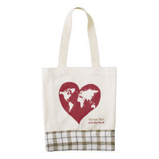 love the world, world-map zazzle HEART tote bag