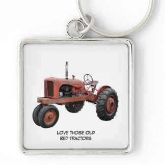 Love Those Old Red Rustic Tractors Keychain