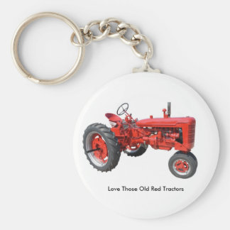 Love Those Old Red Tractors Basic Round Button Keychain