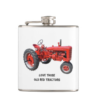 Love Those Old Red Tractors Flask