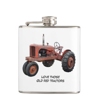 Love Those Old Red Tractors Hip Flask