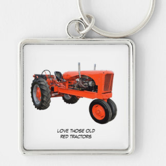 Love Those Old Red Tractors Silver-Colored Square Keychain