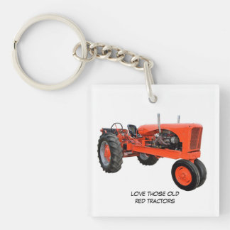 Love Those Old Red Tractors Single-Sided Square Acrylic Keychain