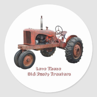 Love Those Old Rusty Tractors Classic Round Sticker