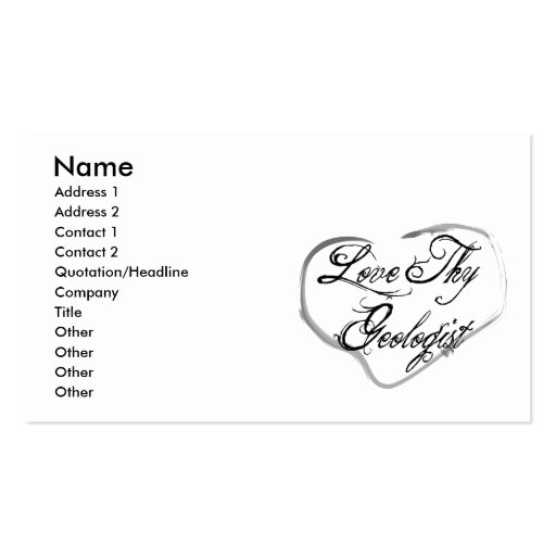 Love Thy Geologist Business Card Template