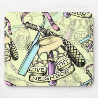 Love thy neighbor hand drawn artwork pattern. mouse pad