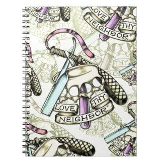 Love thy neighbor hand drawn artwork pattern. spiral notebook