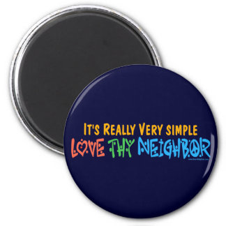 Love Thy Neighbor - Heart, Peace Sign 2 Inch Round Magnet