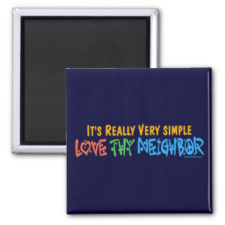 Love Thy Neighbor - Heart, Peace Sign 2 Inch Square Magnet