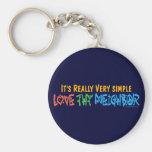 Love Thy Neighbor - Heart, Peace Sign Key Chains