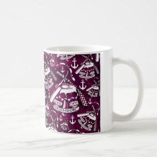 Love thy neighbor pink brass knuckles pattern coffee mug