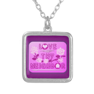 Love Thy Neighbor Small Silver Plated Necklace