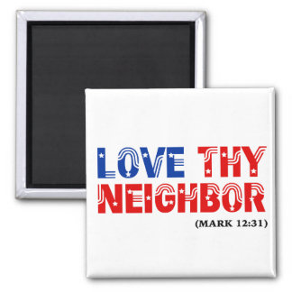 Love Thy Neighbor Stars Stripes: hurricanesupport 2 Inch Square Magnet