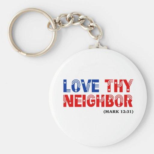 Love Thy Neighbor Stars Stripes: hurricanesupport Key Chain