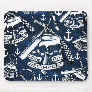 Love thy Neighbors retro Tattoo pattern in navy. Mouse Pad
