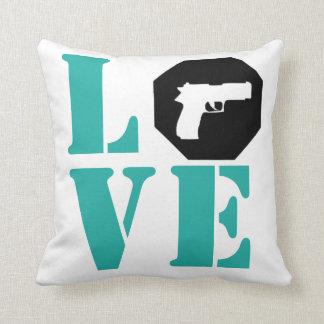 LOVE- Tiffany Blue Throw Pillow
