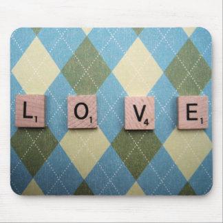 Love Tiles on Plaid Mouse Pad