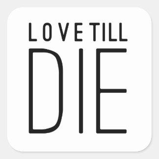 Love Till Die Typographic Quote Square Sticker