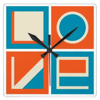 LOVE time in supremacist  design style Wallclocks