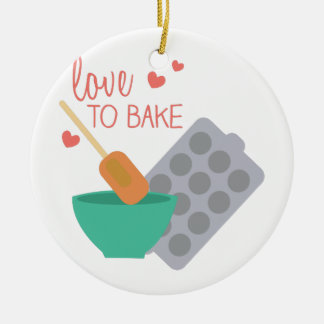 Love To Bake Double-Sided Ceramic Round Christmas Ornament